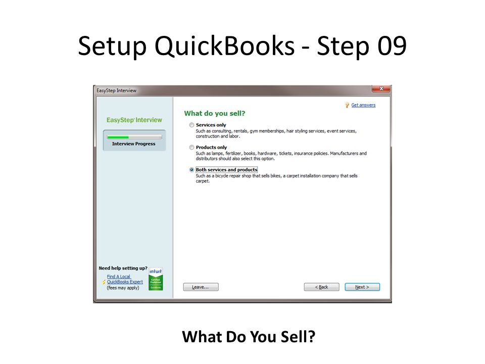 Setup QuickBooks - Step 09 What Do You Sell