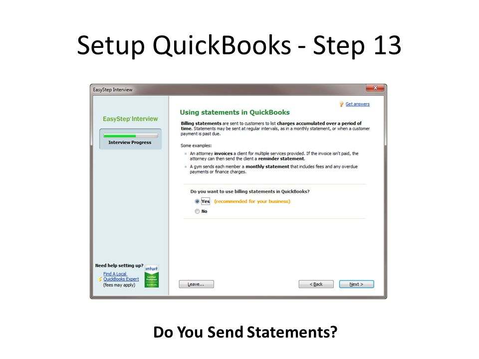 Setup QuickBooks - Step 13 Do You Send Statements