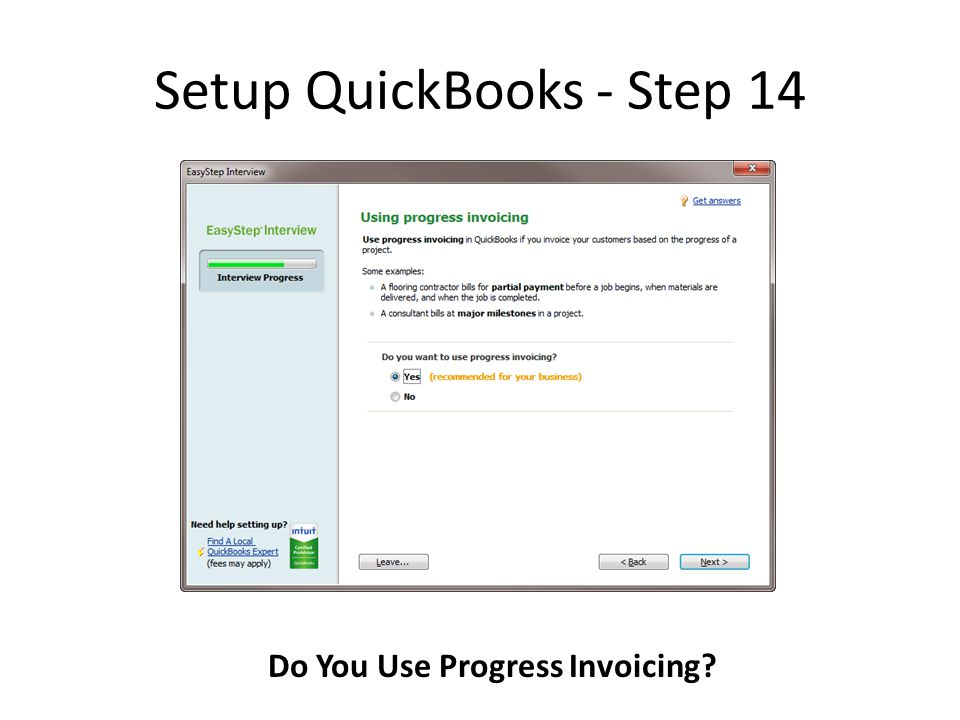 Setup QuickBooks - Step 14 Do You Use Progress Invoicing