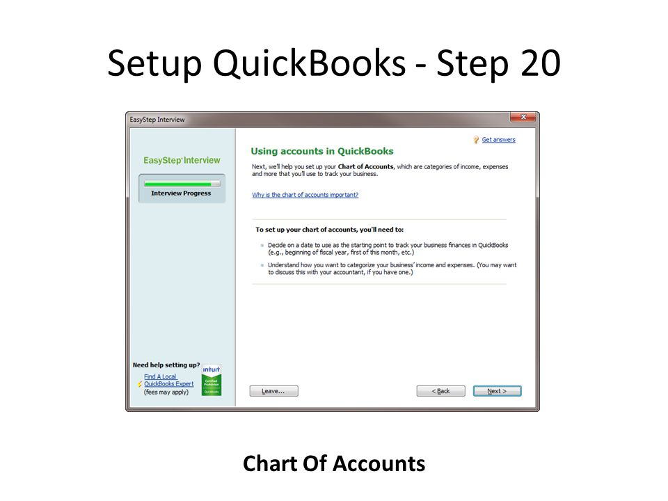 Setup QuickBooks - Step 20 Chart Of Accounts