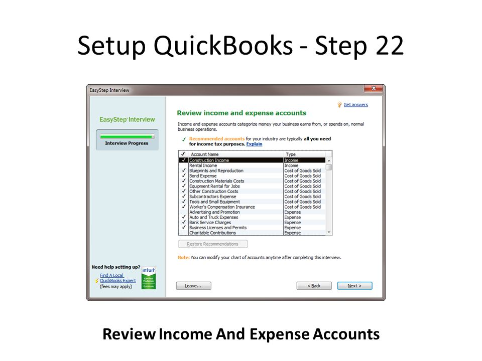 Setup QuickBooks - Step 22 Review Income And Expense Accounts