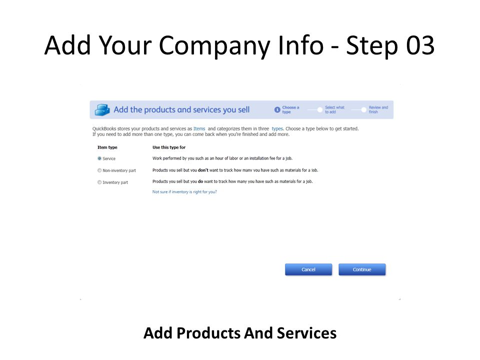Add Your Company Info - Step 03 Add Products And Services