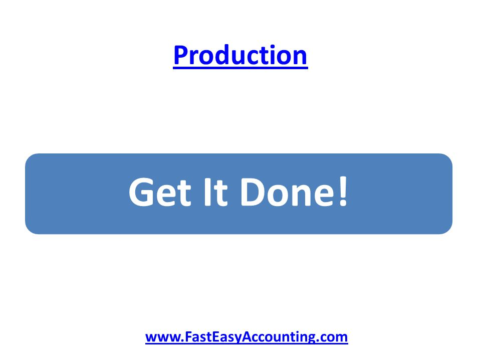 Production Get It Done! www.FastEasyAccounting.com