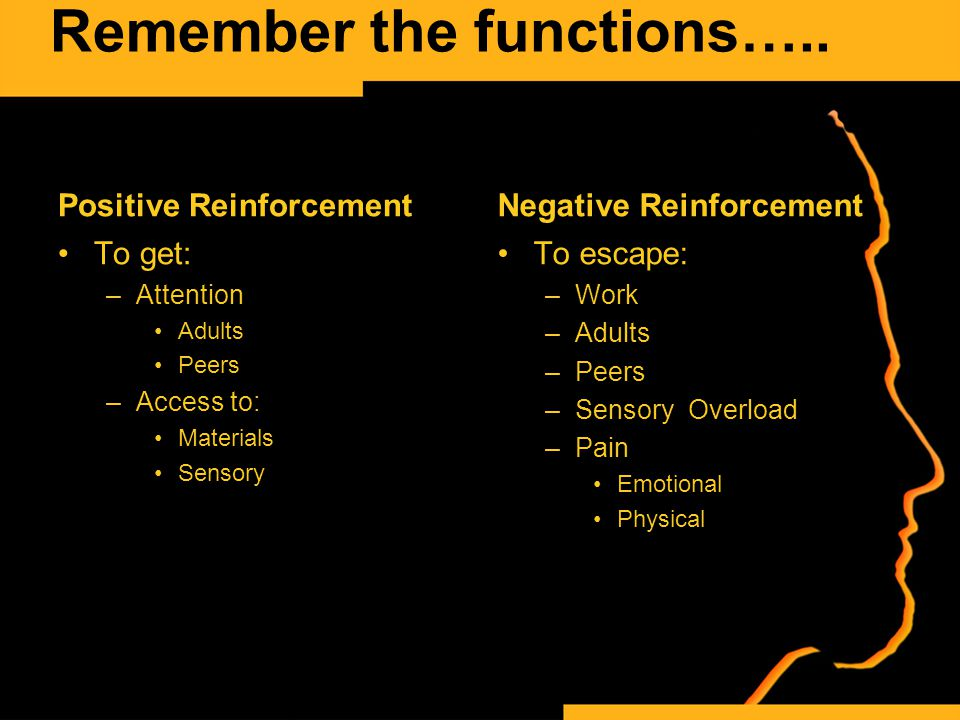 Remember the functions….. Positive Reinforcement To get: –Attention Adults Peers –Access to: Materials Sensory Negative Reinforcement To escape: –Work