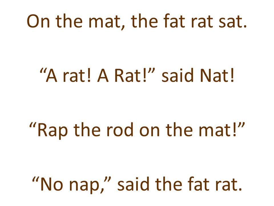 """On the mat, the fat rat sat. """"A rat! A Rat!"""" said Nat! """"Rap the rod on the mat!"""" """"No nap,"""" said the fat rat."""