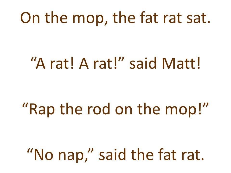 """On the mop, the fat rat sat. """"A rat! A rat!"""" said Matt! """"Rap the rod on the mop!"""" """"No nap,"""" said the fat rat."""