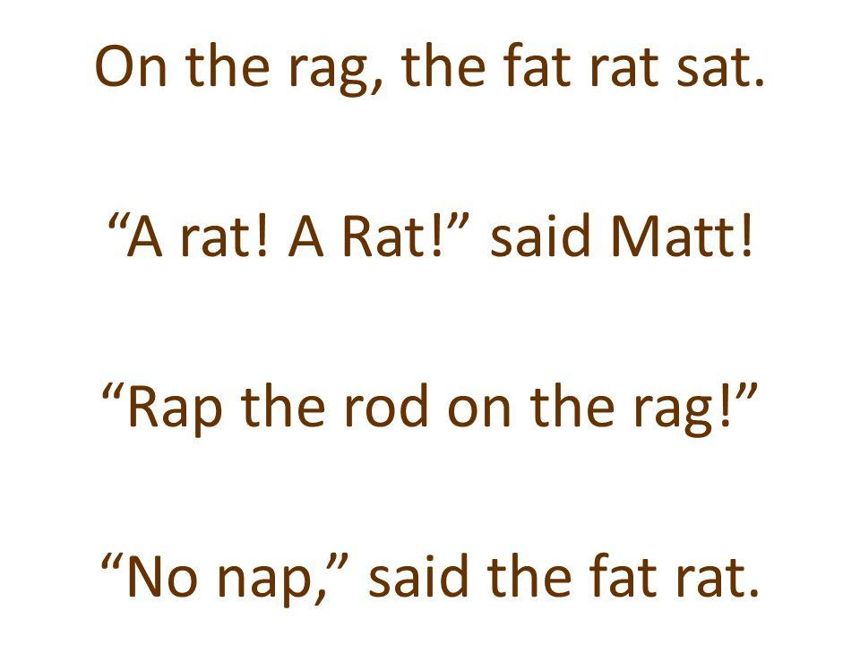 """On the rag, the fat rat sat. """"A rat! A Rat!"""" said Matt! """"Rap the rod on the rag!"""" """"No nap,"""" said the fat rat."""