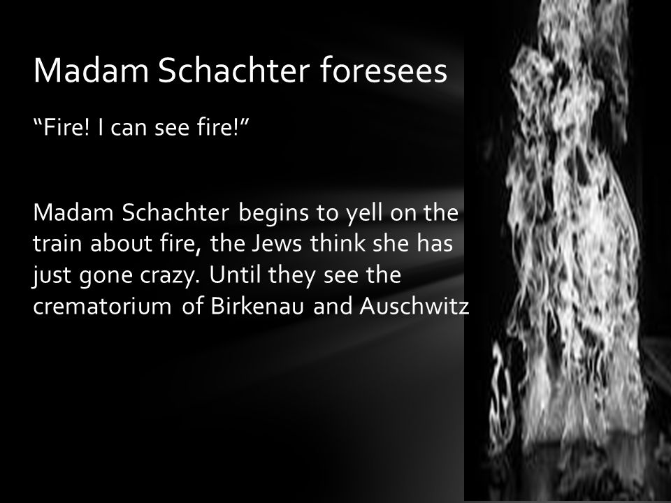 """Fire! I can see fire!"" Madam Schachter begins to yell on the train about fire, the Jews think she has just gone crazy. Until they see the crematorium"