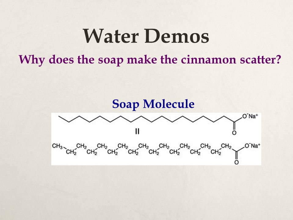 Water Demos Soap Molecule Why does the soap make the cinnamon scatter?