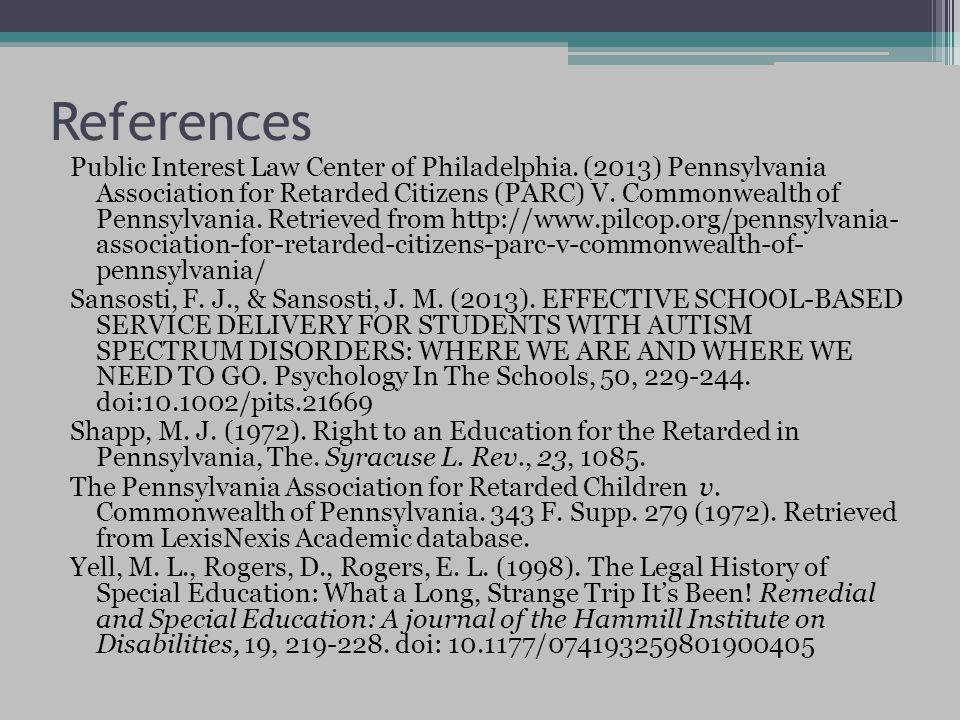 References Public Interest Law Center of Philadelphia.
