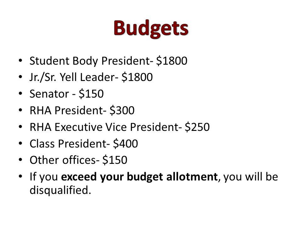 Student Body President- $1800 Jr./Sr.