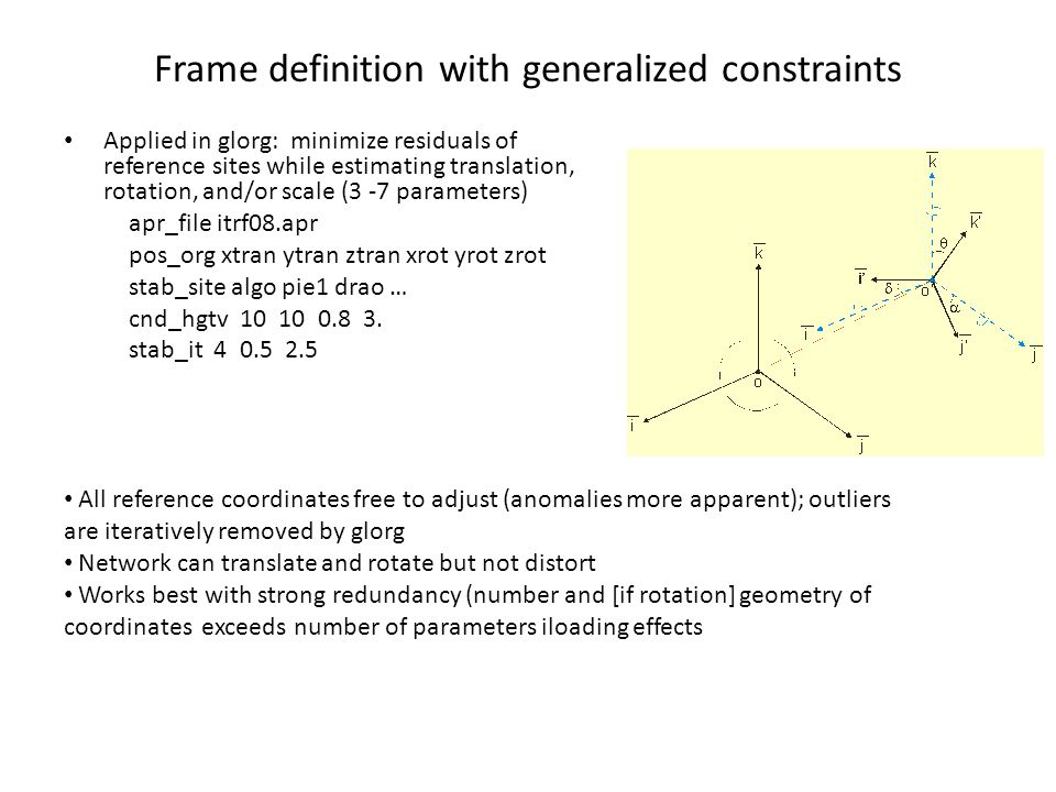Frame definition with generalized constraints Applied in glorg: minimize residuals of reference sites while estimating translation, rotation, and/or s