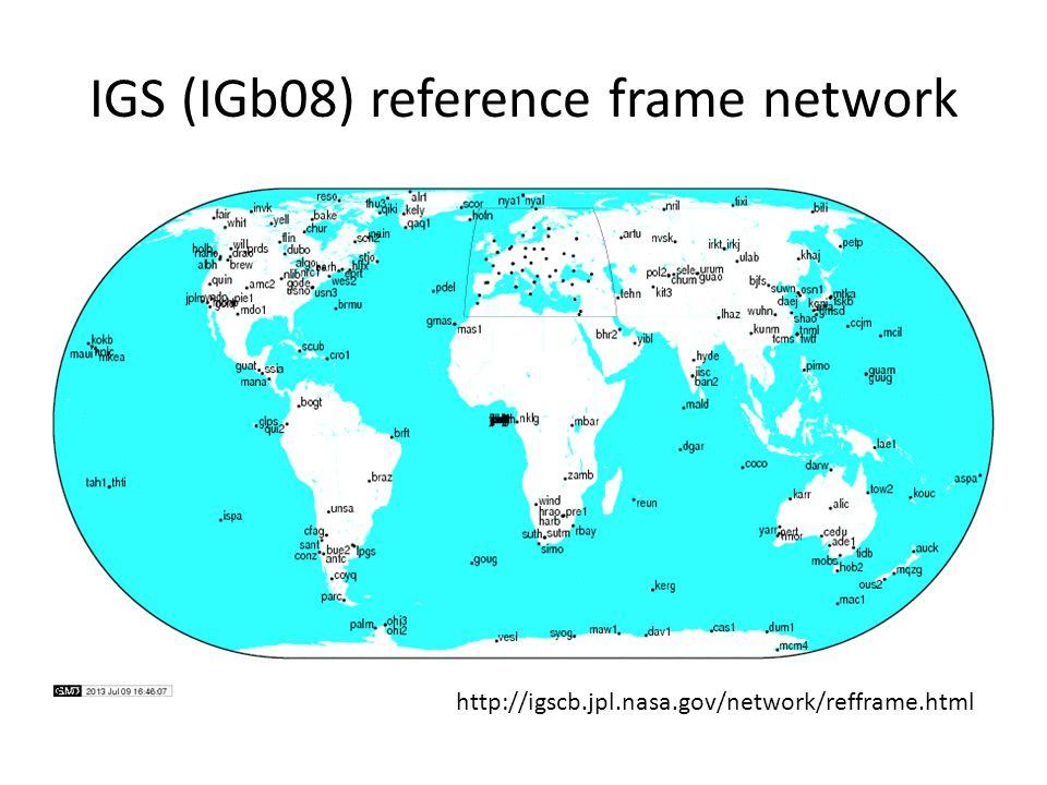 IGS (IGb08) reference frame network http://igscb.jpl.nasa.gov/network/refframe.html