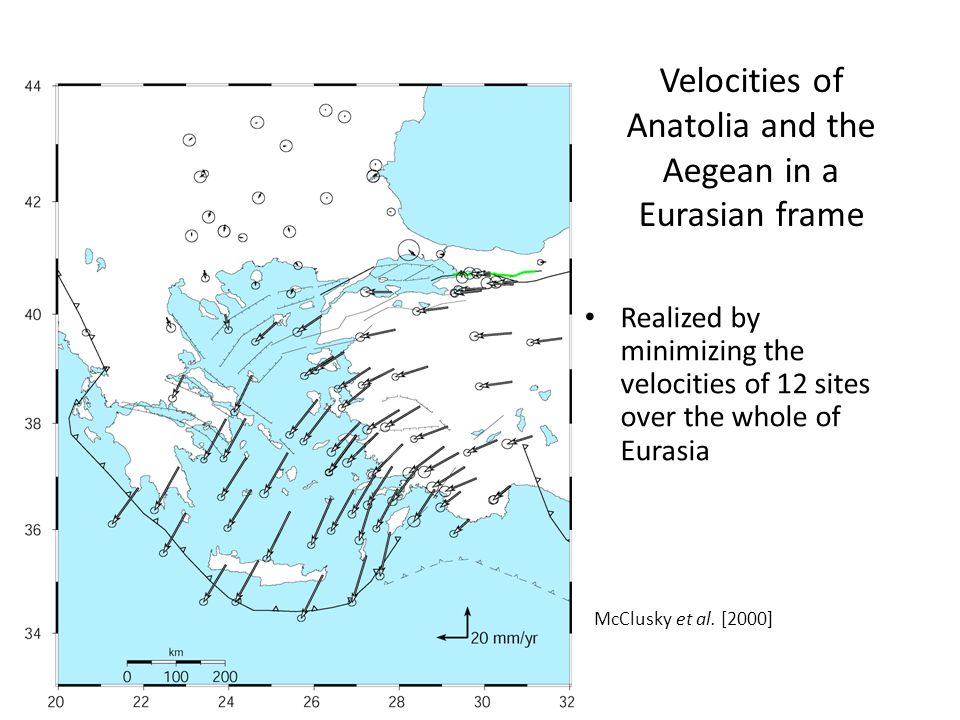Velocities of Anatolia and the Aegean in a Eurasian frame Realized by minimizing the velocities of 12 sites over the whole of Eurasia McClusky et al.