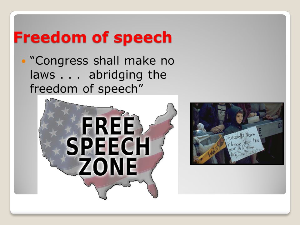 Freedom of speech Congress shall make no laws... abridging the freedom of speech
