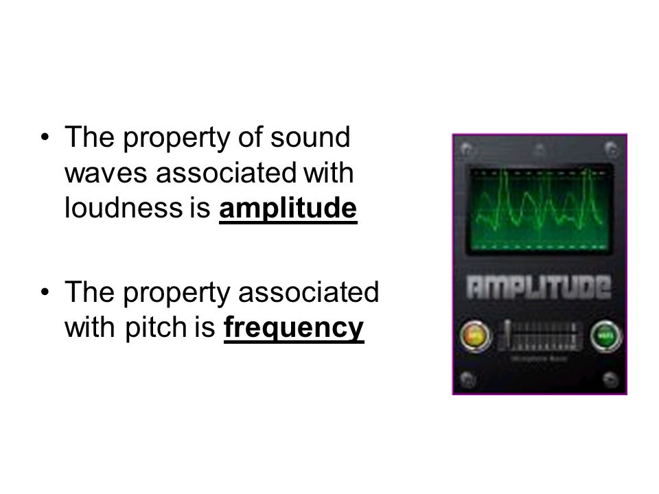 The property of sound waves associated with loudness is amplitude The property associated with pitch is frequency