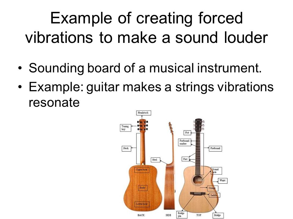 Example of creating forced vibrations to make a sound louder Sounding board of a musical instrument. Example: guitar makes a strings vibrations resona