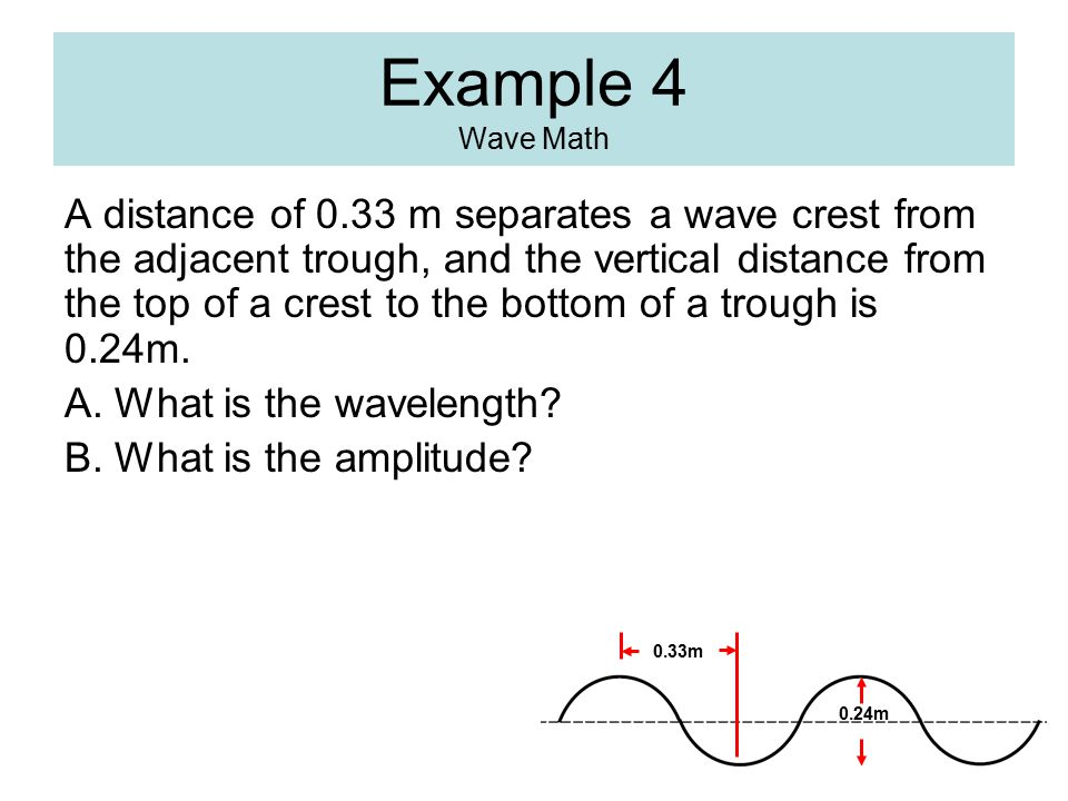 Example 4 Wave Math A distance of 0.33 m separates a wave crest from the adjacent trough, and the vertical distance from the top of a crest to the bot