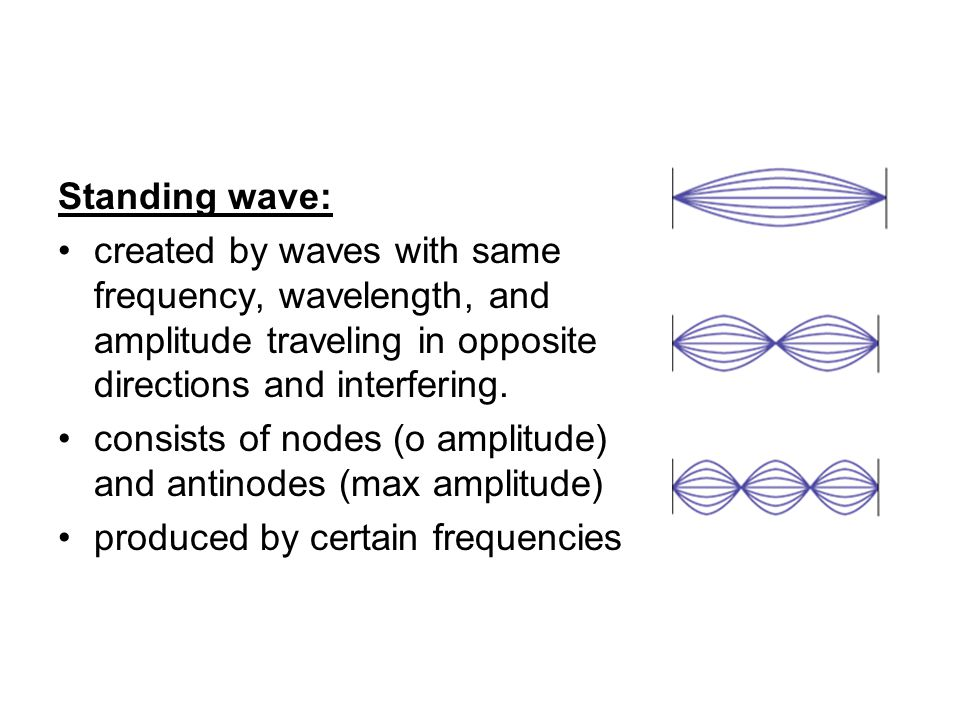 Standing wave: created by waves with same frequency, wavelength, and amplitude traveling in opposite directions and interfering. consists of nodes (o