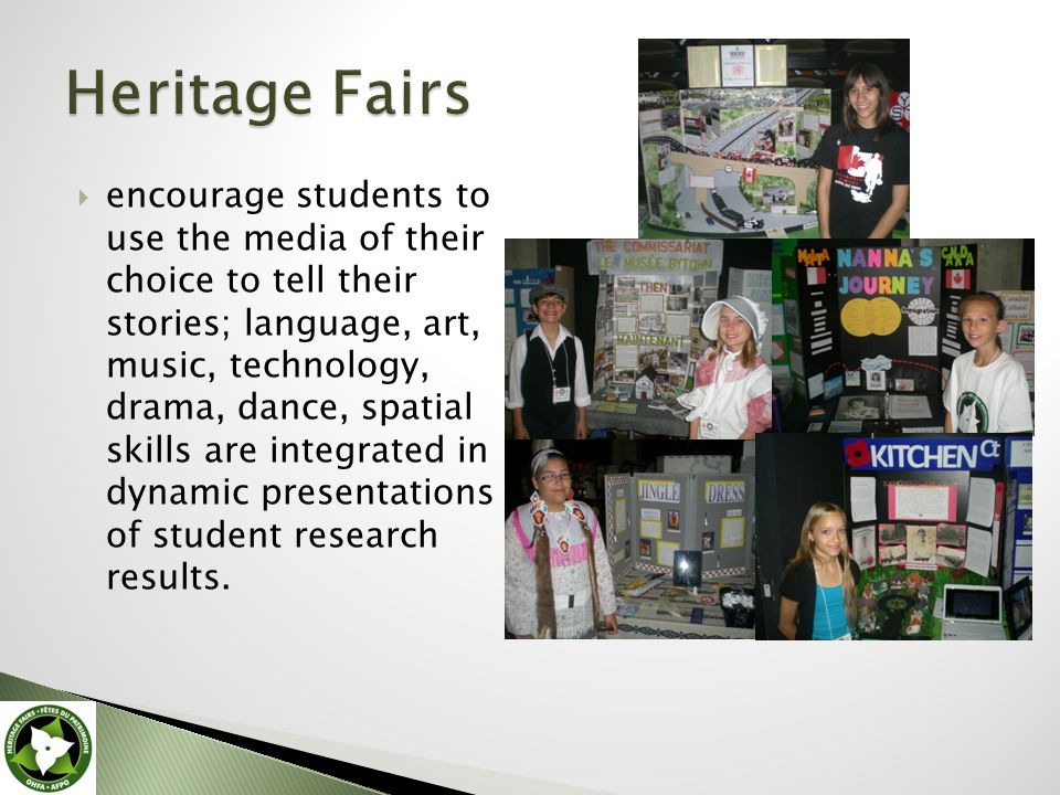 encourage students to use the media of their choice to tell their stories; language, art, music, technology, drama, dance, spatial skills are integrated in dynamic presentations of student research results.