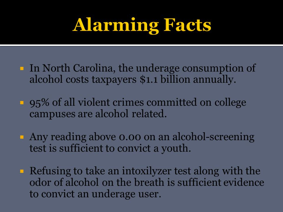  In North Carolina, the underage consumption of alcohol costs taxpayers $1.1 billion annually.