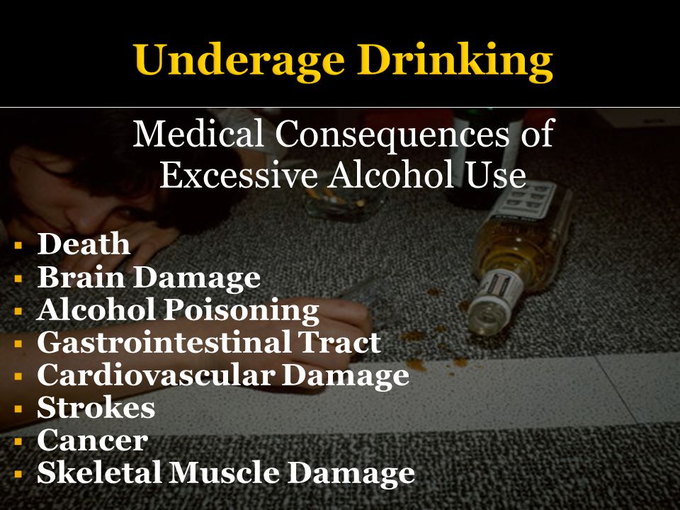 Medical Consequences of Excessive Alcohol Use  Death  Brain Damage  Alcohol Poisoning  Gastrointestinal Tract  Cardiovascular Damage  Strokes  Cancer  Skeletal Muscle Damage