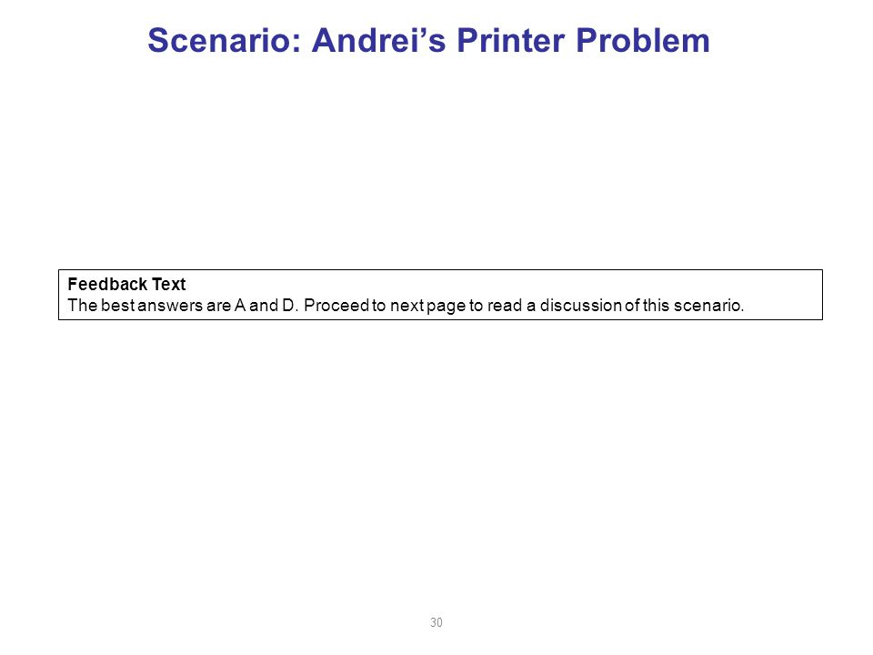 Scenario: Andrei's Printer Problem Feedback Text The best answers are A and D.