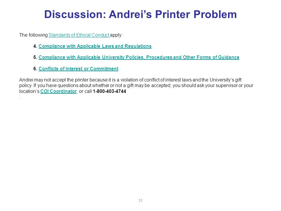 Discussion: Andrei's Printer Problem The following Standards of Ethical Conduct apply:Standards of Ethical Conduct 4.