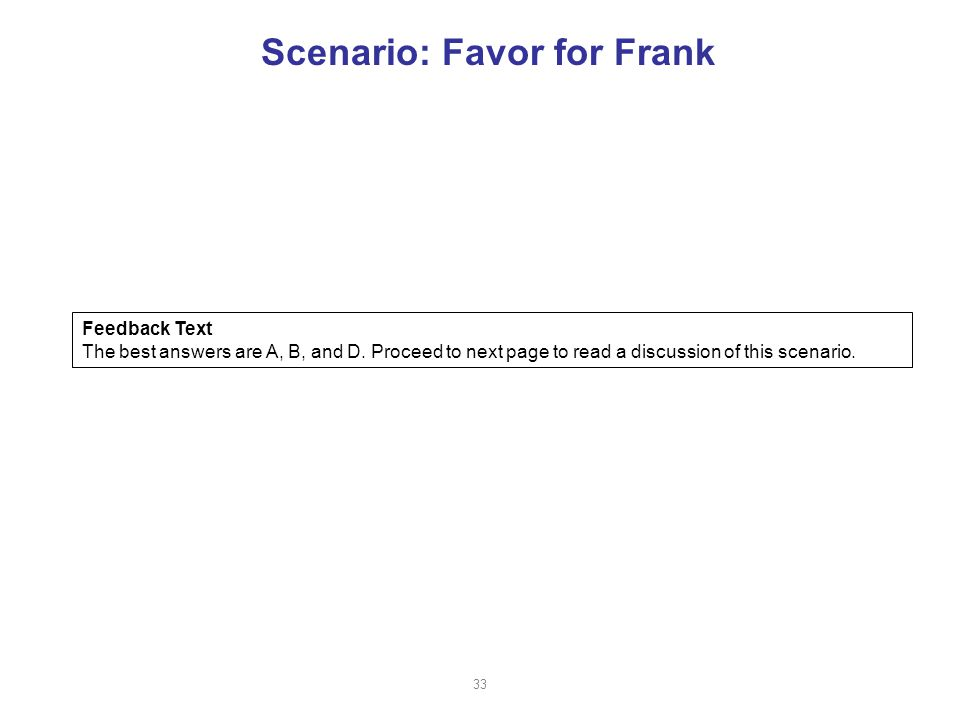 Scenario: Favor for Frank Feedback Text The best answers are A, B, and D.