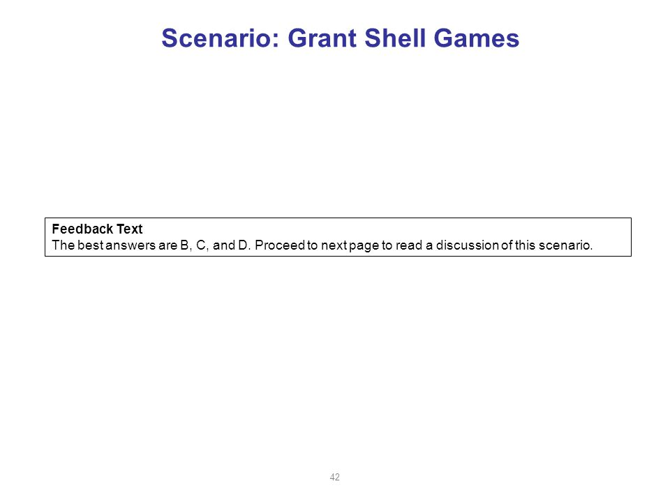 Scenario: Grant Shell Games Feedback Text The best answers are B, C, and D.