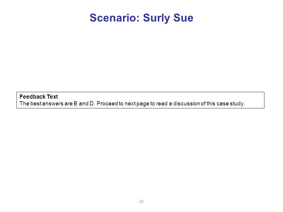 Scenario: Surly Sue Feedback Text The best answers are B and D.