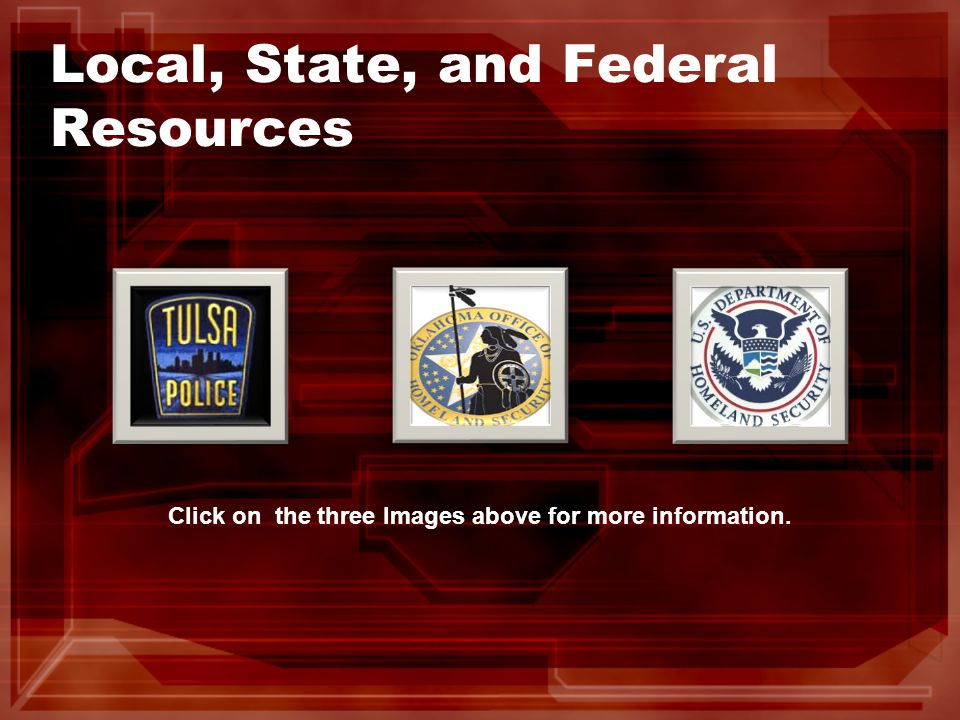Local, State, and Federal Resources Click on the three Images above for more information.