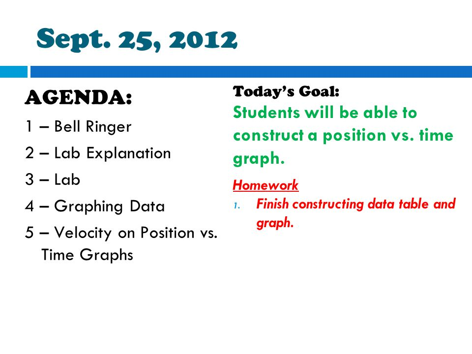 Sept. 25, 2012 AGENDA: 1 – Bell Ringer 2 – Lab Explanation 3 – Lab 4 – Graphing Data 5 – Velocity on Position vs. Time Graphs Today's Goal: Students w