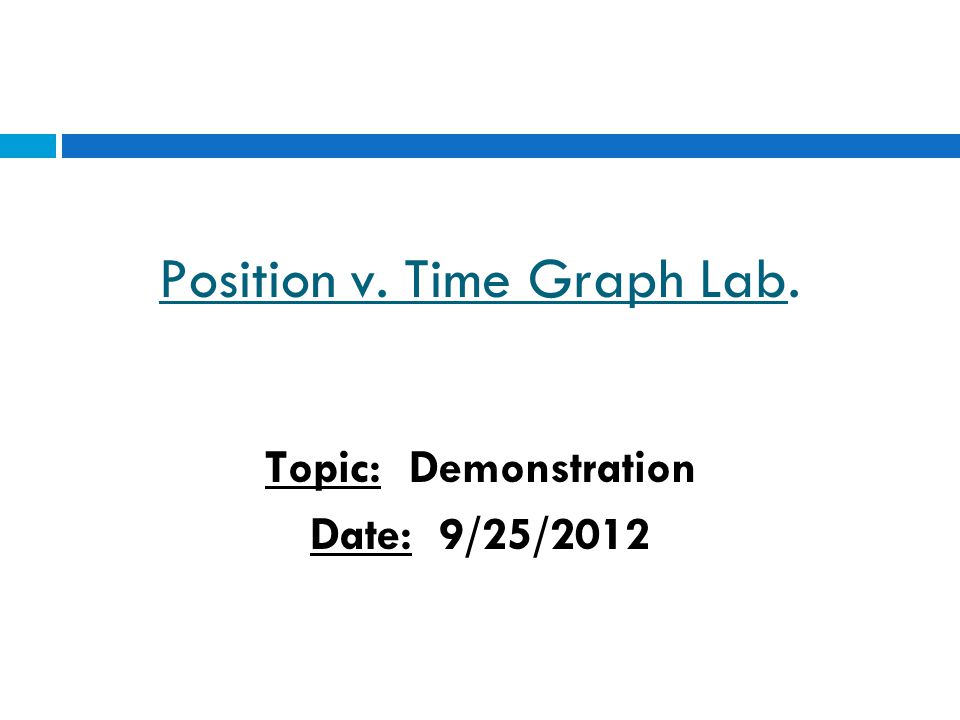 Position v. Time Graph Lab. Topic: Demonstration Date: 9/25/2012