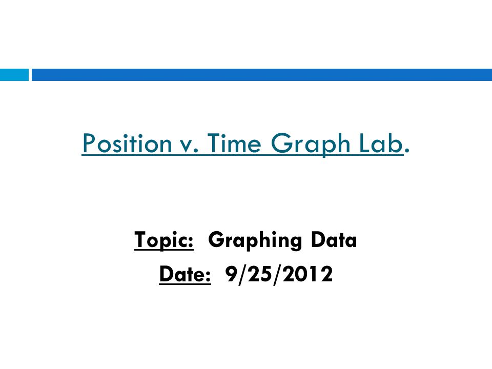 Position v. Time Graph Lab. Topic: Graphing Data Date: 9/25/2012