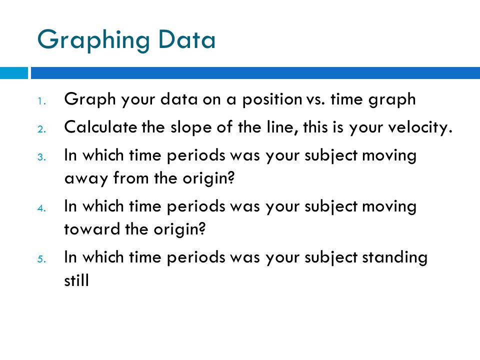 Graphing Data 1. Graph your data on a position vs.