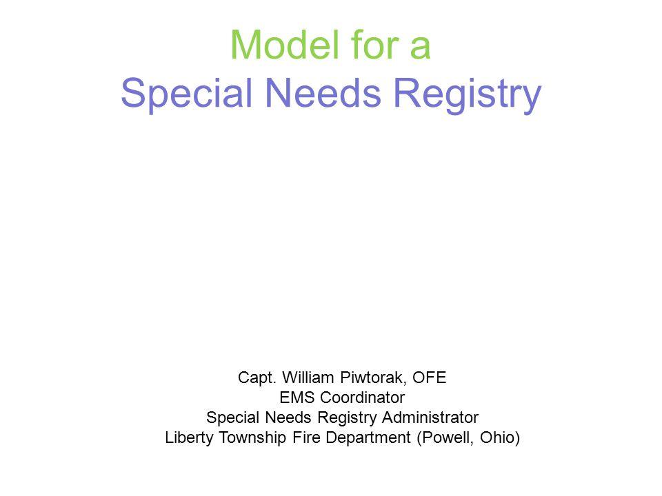Model for a Special Needs Registry Capt.