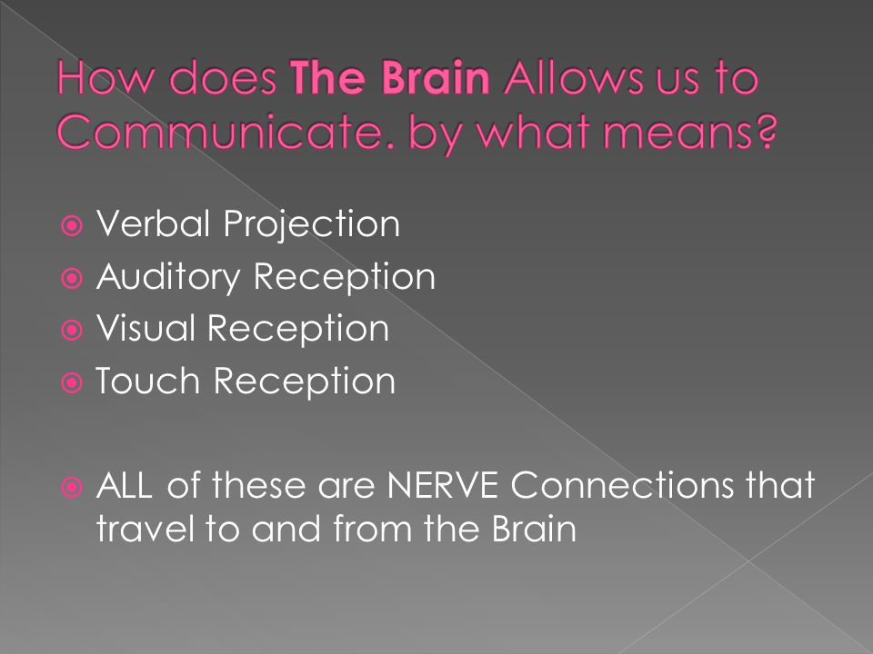  Verbal Projection  Auditory Reception  Visual Reception  Touch Reception  ALL of these are NERVE Connections that travel to and from the Brain