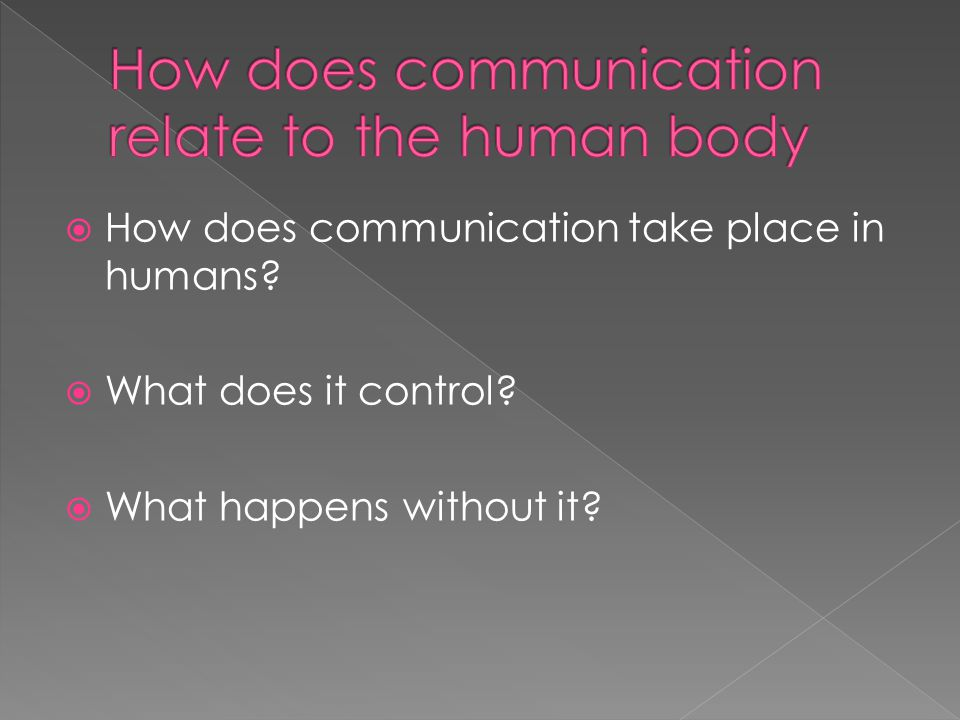  How does communication take place in humans  What does it control  What happens without it