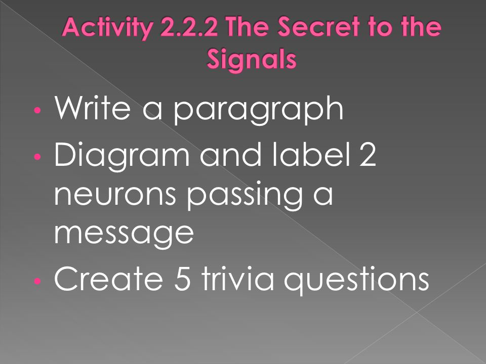 Write a paragraph Diagram and label 2 neurons passing a message Create 5 trivia questions