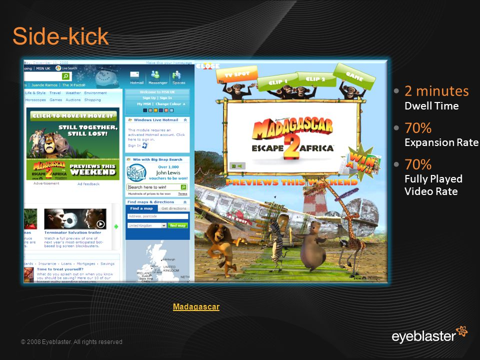 © 2008 Eyeblaster. All rights reserved Side-kick 2 minutes Dwell Time 70% Expansion Rate 70% Fully Played Video Rate Madagascar