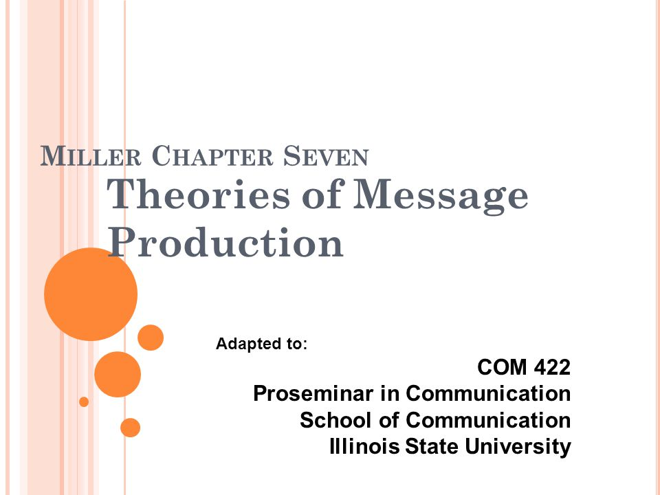 M ILLER C HAPTER S EVEN Theories of Message Production Adapted to: COM 422 Proseminar in Communication School of Communication Illinois State University