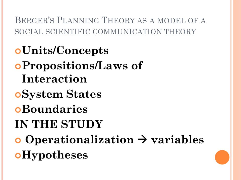 B ERGER ' S P LANNING T HEORY AS A MODEL OF A SOCIAL SCIENTIFIC COMMUNICATION THEORY Units/Concepts Propositions/Laws of Interaction System States Boundaries IN THE STUDY Operationalization  variables Hypotheses