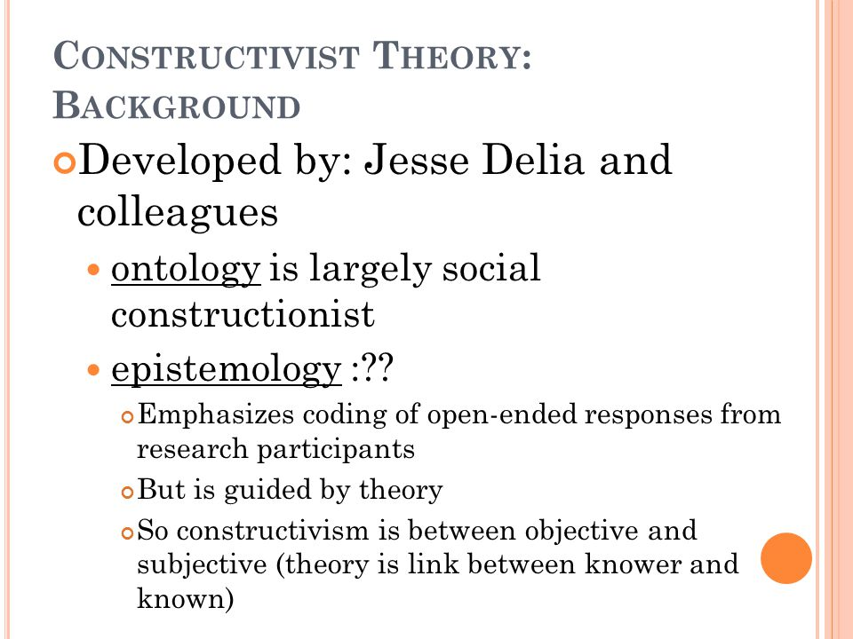 C ONSTRUCTIVIST T HEORY : B ACKGROUND Developed by: Jesse Delia and colleagues ontology is largely social constructionist epistemology : .
