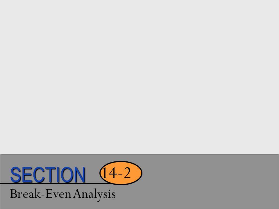 Break-Even Analysis 14-2 SECTION