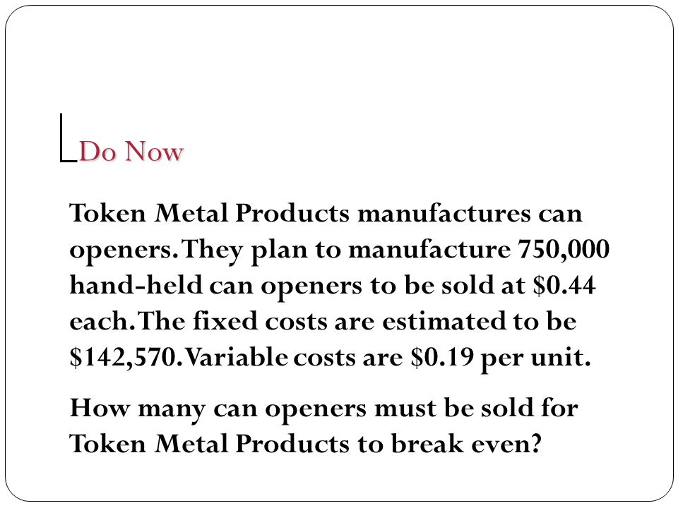 Token Metal Products manufactures can openers. They plan to manufacture 750,000 hand-held can openers to be sold at $0.44 each. The fixed costs are es