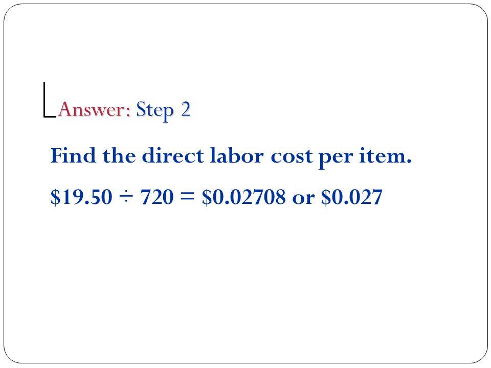 Find the prime cost per item.