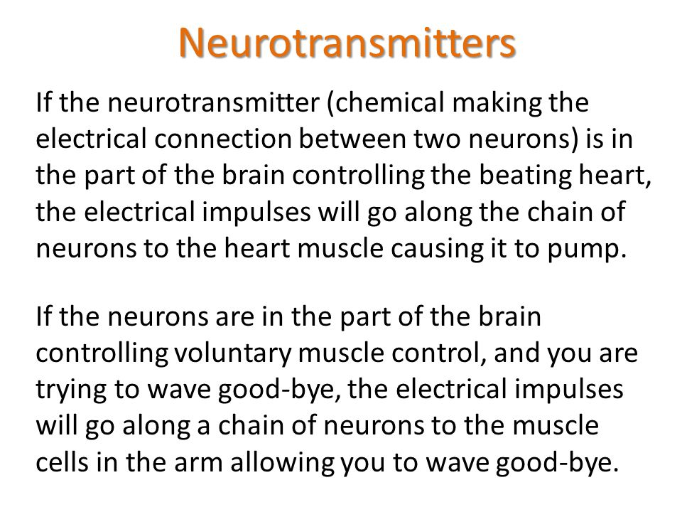 Neurotransmitters If the neurotransmitter (chemical making the electrical connection between two neurons) is in the part of the brain controlling the beating heart, the electrical impulses will go along the chain of neurons to the heart muscle causing it to pump.