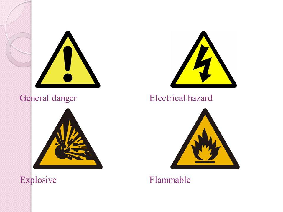 General danger Explosive Electrical hazard Flammable