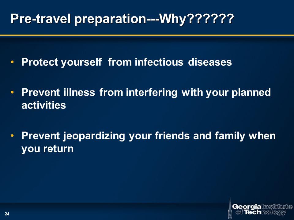 24 Pre-travel preparation---Why .